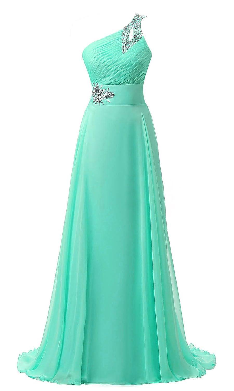 Amazon.com: Vantexi Women\'s One Shoulder Chiffon Long Formal Prom ...