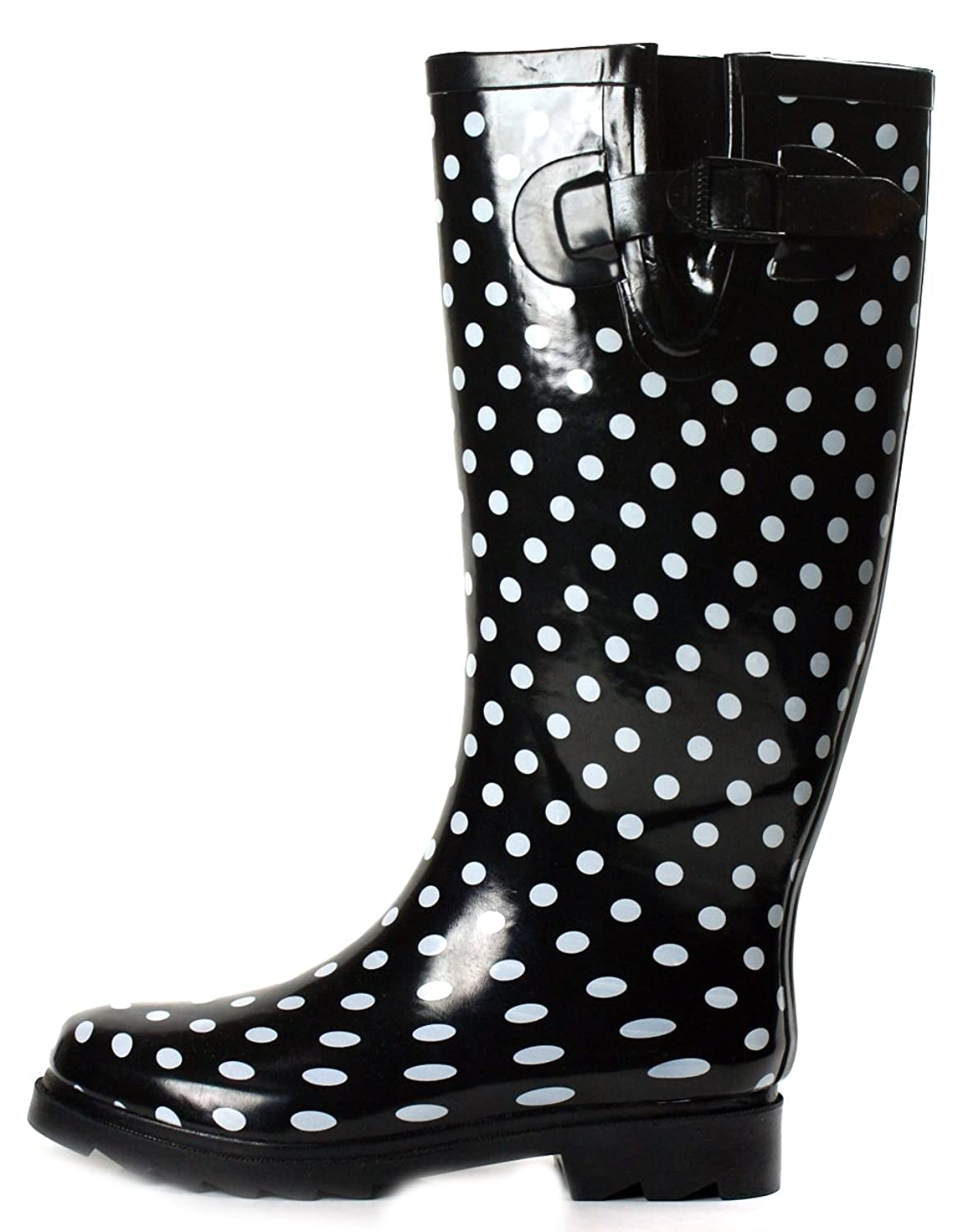 Amazon.com | OwnShoe Polka Dot Rain Boots Black Knee High Womens ...