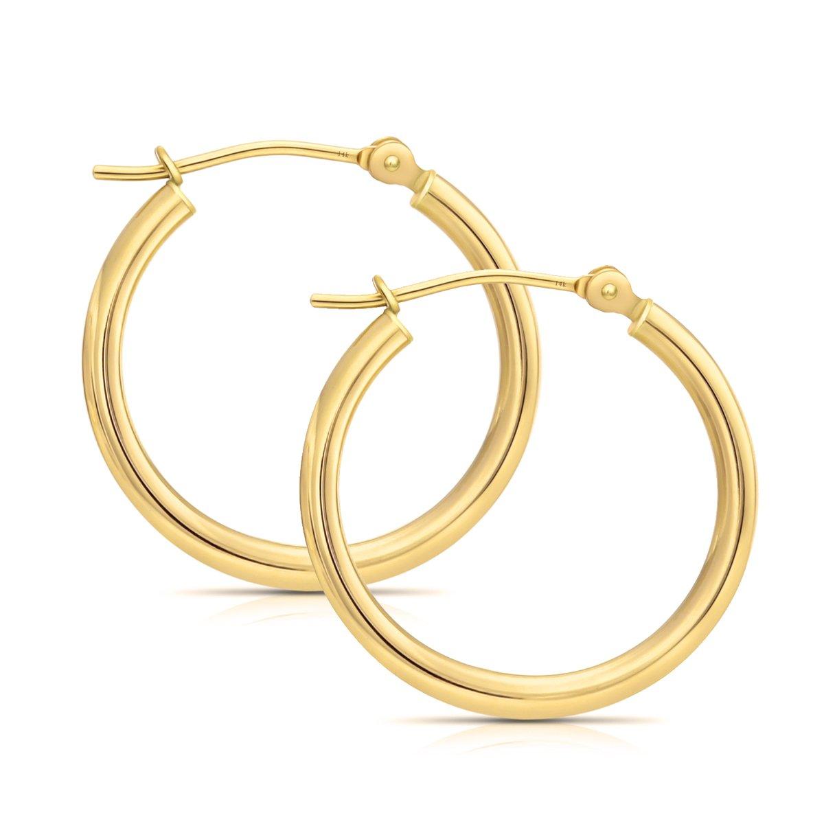 14k Yellow Gold Hoop Earrings, 16mm (0.6'' Diameter) (yellow-gold)