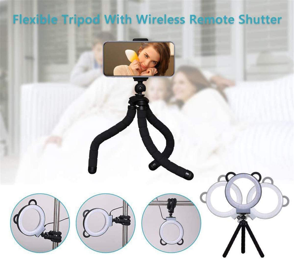 Dimmable,with Tripod Stand and Mobile Phone Stand GJNWRQCY Cat Ear Fill Light Desktop Photo Tripod Stand LED Light Live Ring Light