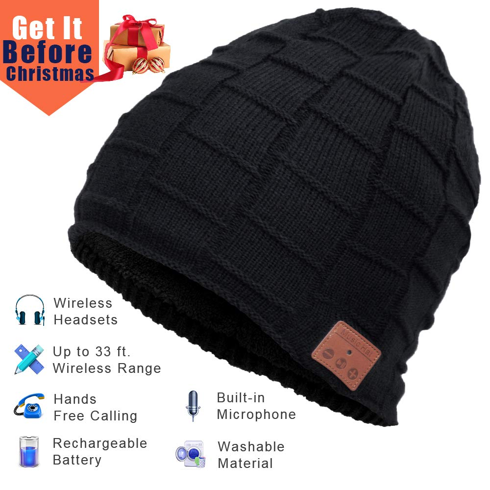 Bluetooth Beanie, Wireless Bluetooth Hat with Bluetooth Headphones Supports Hands-Free HD Music & Calling, Dual Layer, Unisex, Charged via USB, Fully Washable