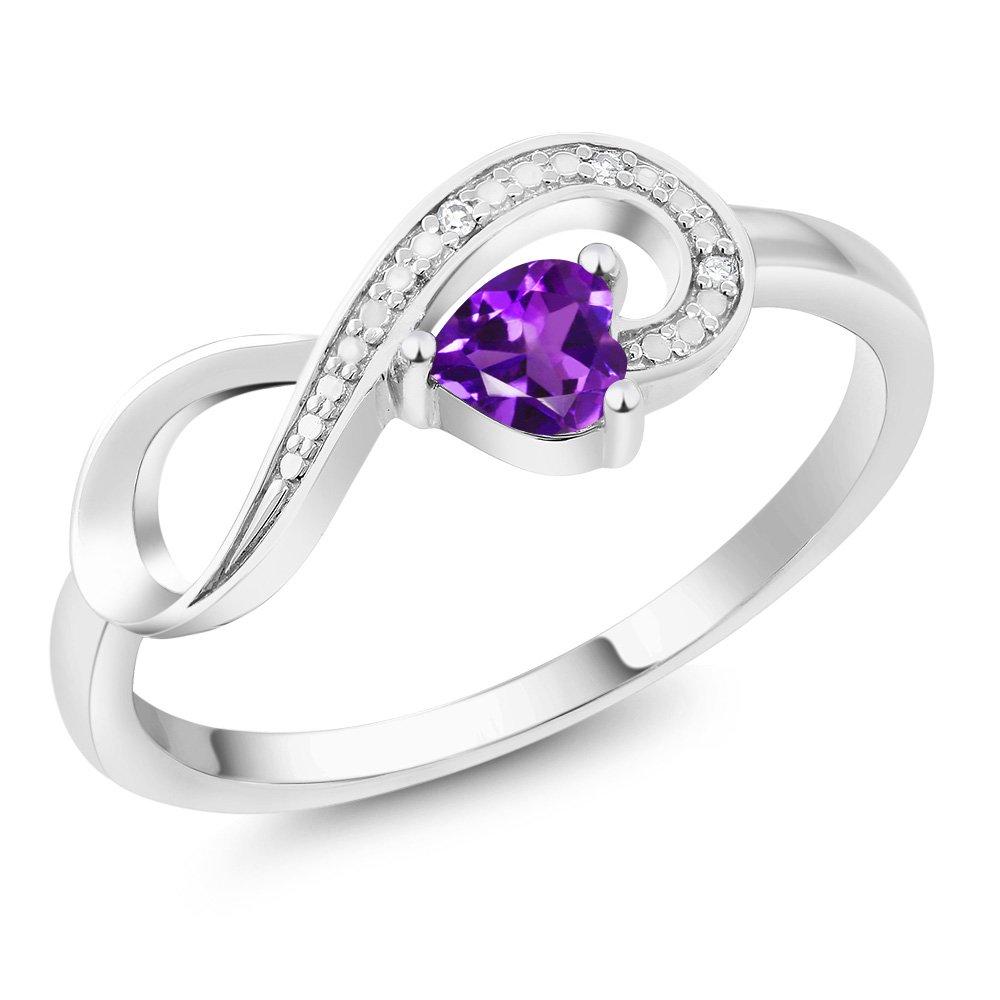 10K White Gold 0.22 Ct Heart Shape Purple Amethyst Diamond Infinity Ring Size 5