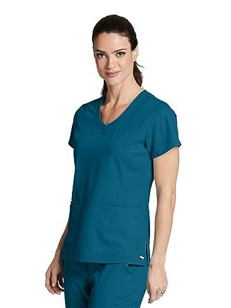 36dd43ed0b8 Amazon.com: Grey's Anatomy 4-Pocket V-Neck Top for Women - Modern ...
