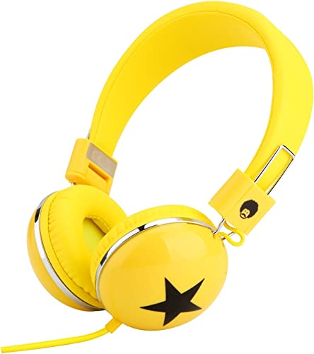Rockpapa Star On Ear Headphones Foldable, Adjustable Headband for Kids Childrens Boys Girls Adults, iPhone iPod iPad Smartphones Tablets Computer DVD Yellow