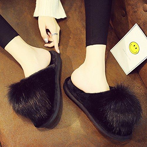Fuzzy Slippers Fluffy FreLO Women's pom Black Pom Slippers Cute Plush wnn6YRqxX