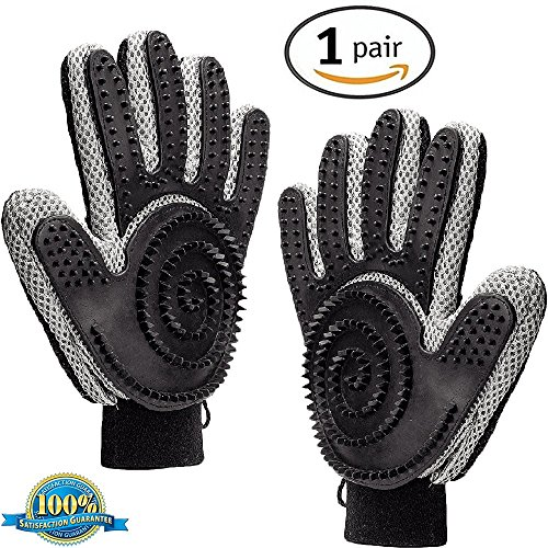 PATY Pet Hair Remover Grooming Glove 2 in 1 Dual Side Deshedding Glove Breathable Mesh Gentle & Effectiv Five Finger Design ()