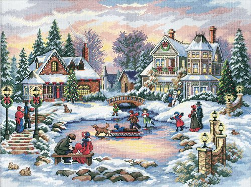 Dimensions Gold Collection Counted Cross Stitch Kit, Treasured Time Christmas Cross Stitch, 16 Count Dove Grey Aida, 16'' x 12''
