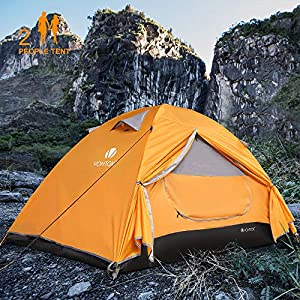 V VONTOX Camping Tent, Dome 1-3 Persons Lightweight Backpacking Tent Waterproof Two Doors, Easy Setup, for Family in…