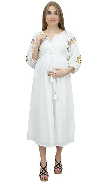 Bimba Enfermería mamás con cordón Las Mangas de Soplo de Las Mujeres Blancas Vestido de maternidad
