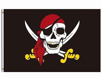 Jolly Roger Flag Pirate Red Bandana New 3x5 Flags Skull Free Ship Christmas Supplies