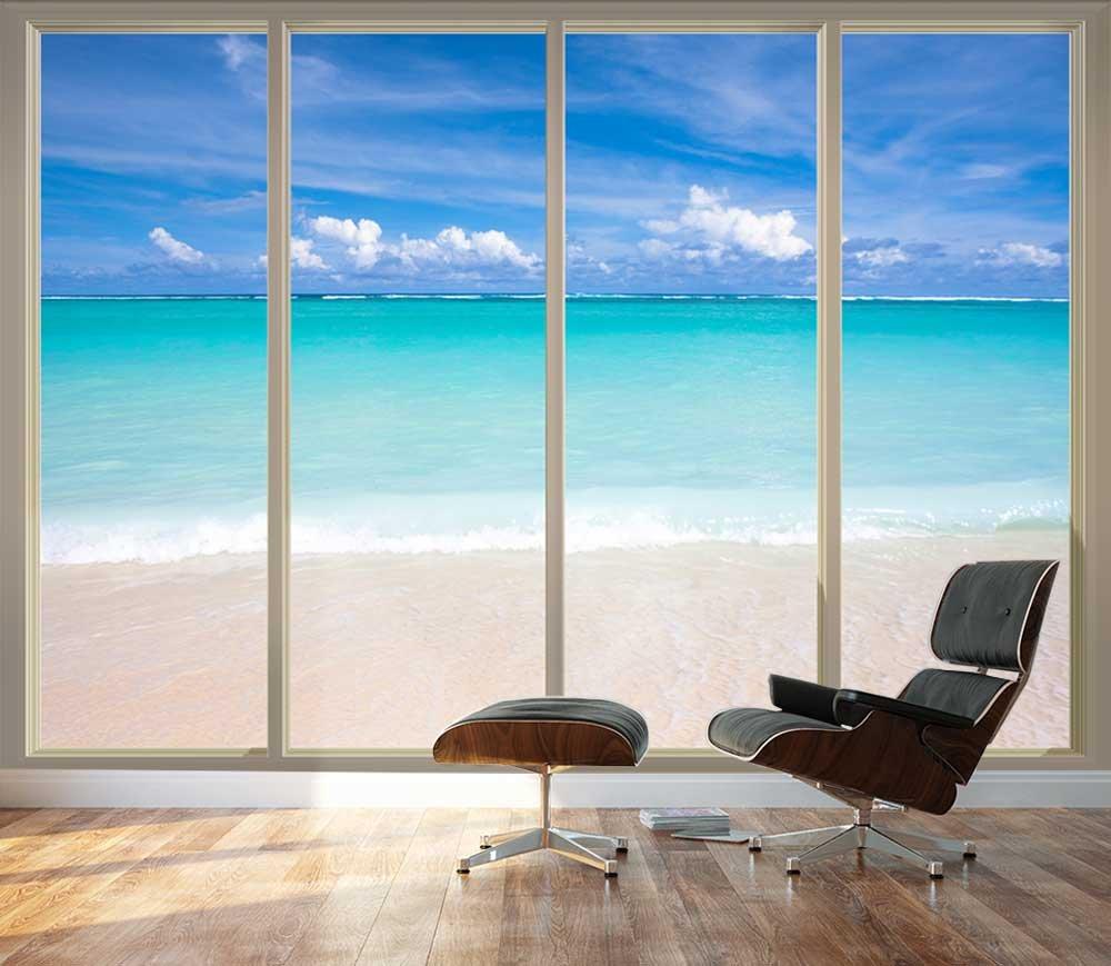 Large wall mural tropical beach seen through sliding for Large sliding glass doors