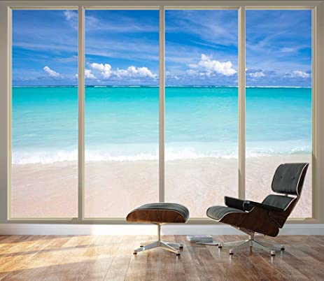 Wall26   Large Wall Mural   Tropical Beach Seen Through Sliding Glass Doors  | 3D Visual Part 56