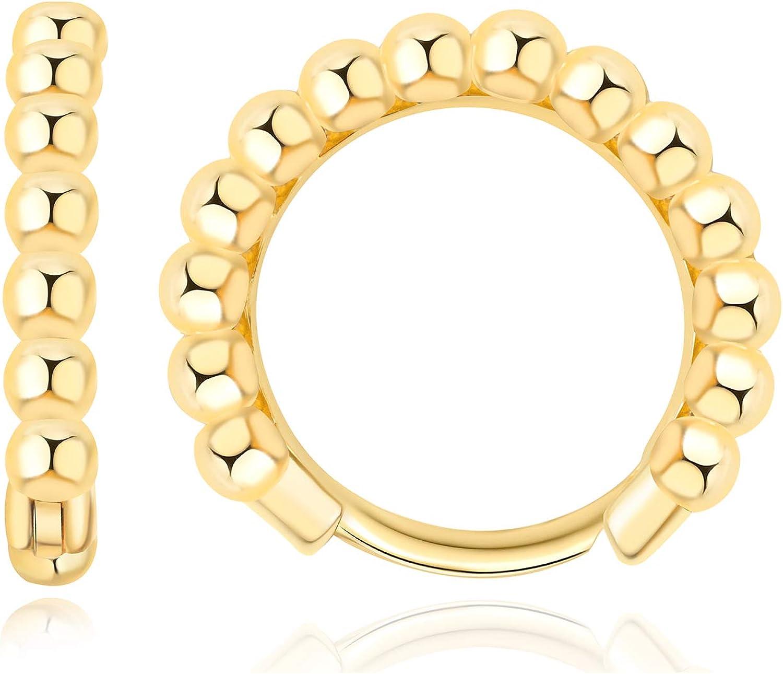 Tiny Gold Hoops Earrings 14K Gold Plated Small Hoop Earrings Dainty Minimalist Geometric Huggie Earrings Boho Beach Simple Hypoallergenic Fashion Jewelry Gift For Her