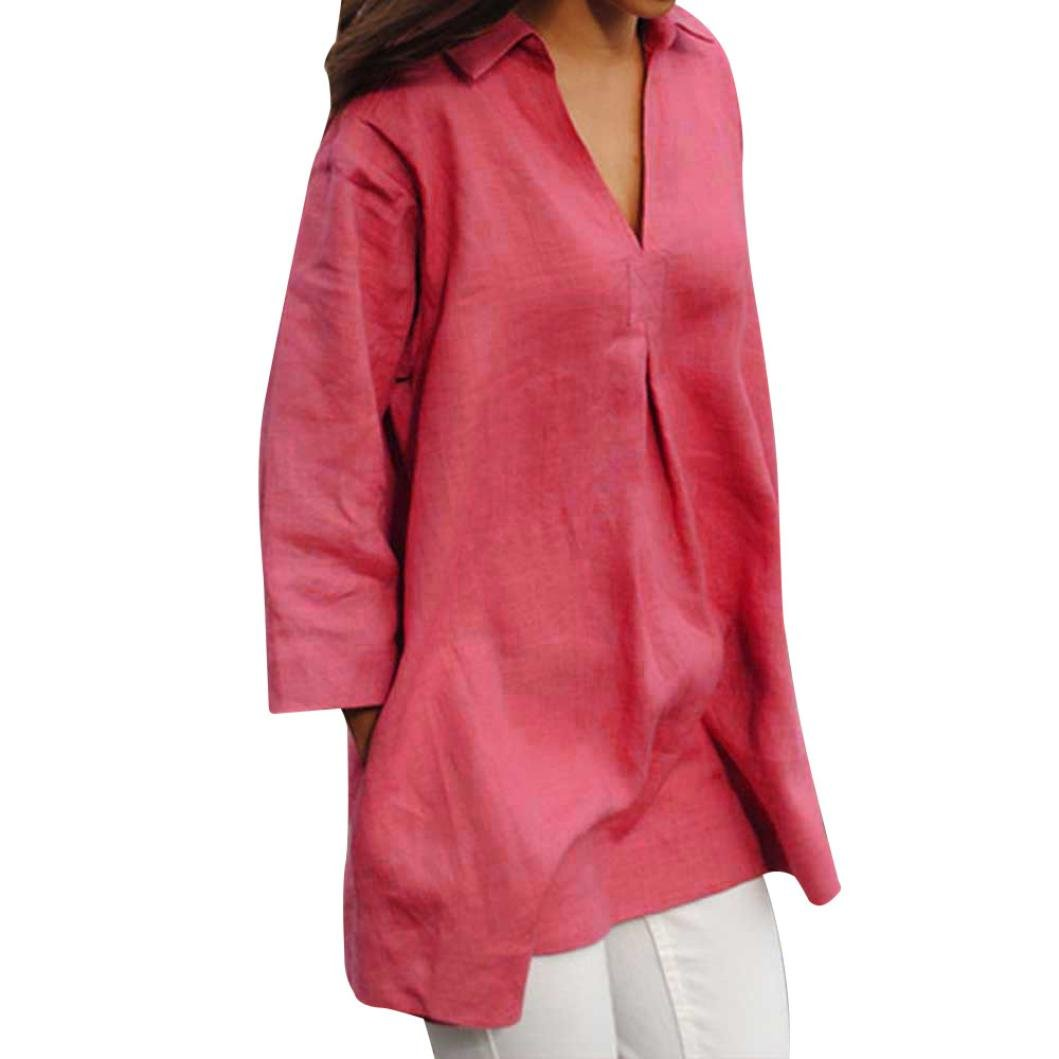 Spbamboo Women Autumn Solid Blouses Casual Loose V Neck Tops Wrist Sleeve Shirts