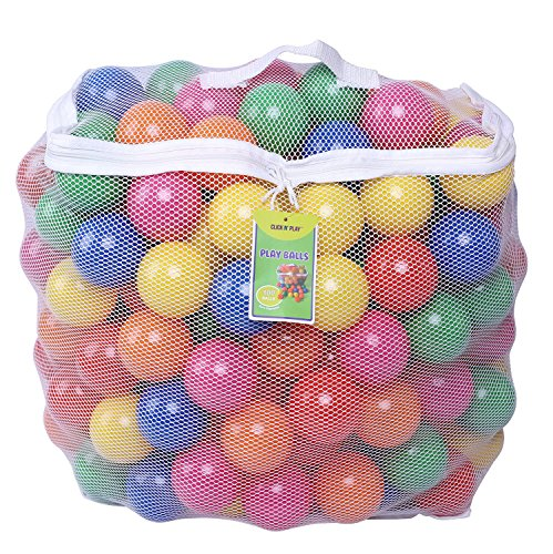 Click N' Play Pack of 100 Phthalate Free BPA Free Crush Proof Plastic Ball, Pit Balls - 6 Bright Colors in Reusable and Durable Storage Mesh Bag with Zipper]()