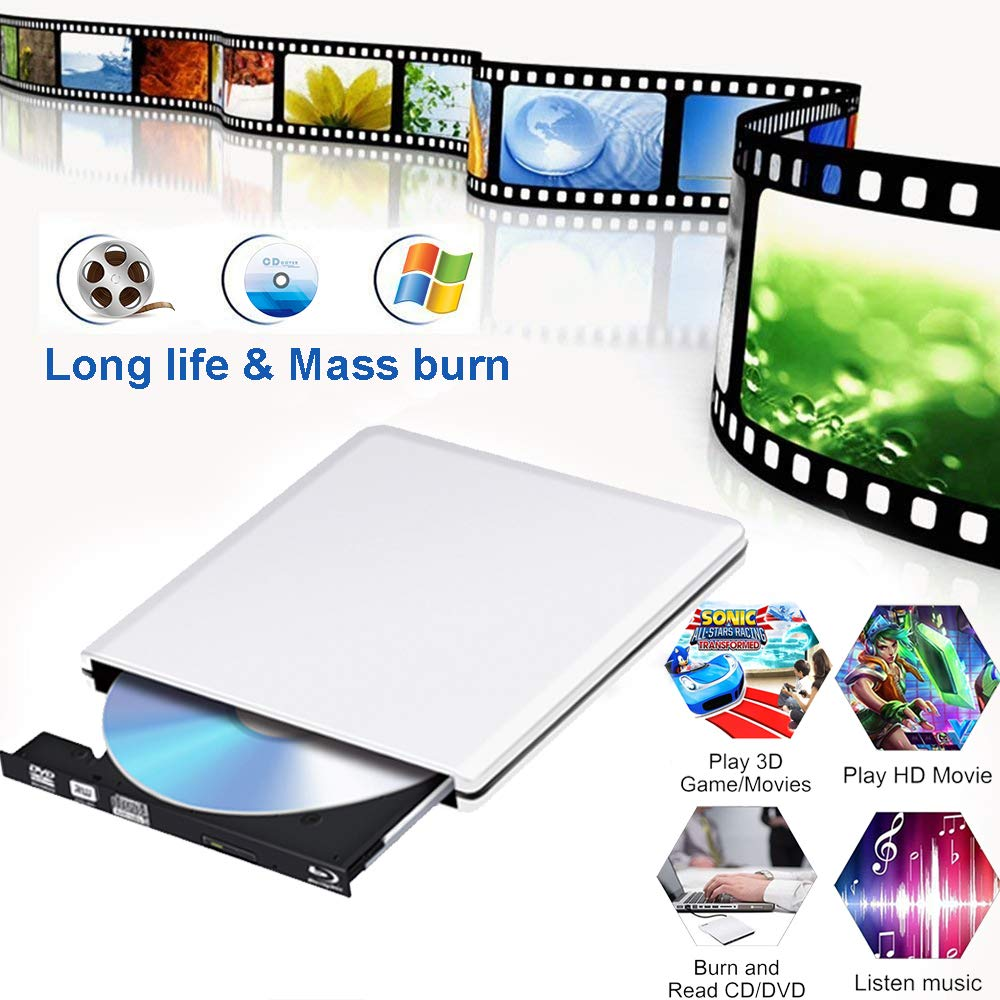 External Blu Ray DVD Drive 4K 3D, USB 3.0 Portable Bluray CD DVD Player Reader Optical RW Row Disk Burner for Laptop Mac OS, Windows 7/8/10,Linxus, PC,Desktop (Silver) by PiAEK (Image #7)