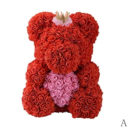 Amazon BleuMoo 40cm DIY Rose Bear Heart Valentine Birthday