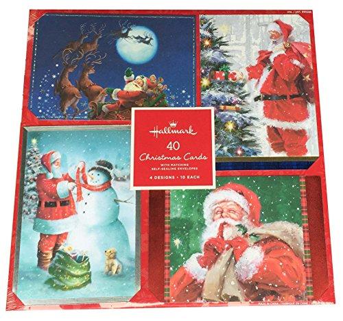Hallmark 40 Christmas Holiday Cards with Matching Self Sealing Envelopes - 4 Designs 10 Each (Santa) (Santa Holiday Card)