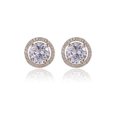 0eadc3d86 CZ Stud Earrings Sterling Silver - 14k Gold Plated Big Round Swarovski  Crystal Cubic Zirconia Rhinestone Diamond Halo Bridal Stud Earrings  Bridesmaids ...