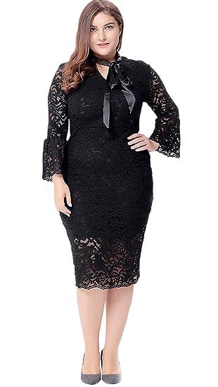 8c5b7c2427c Unomatch Women Plus Size Midi Bodycon Flare Sleeves Dress Black at ...