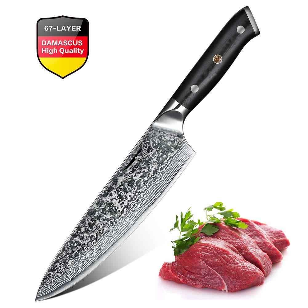 Cuchillo de cocina de 20 cm, Cuchillo Pro Chef de acero de Damasco, Hoja afilada de larga duración, Patrón ondulado, Mango completo Tang ergonómico ...