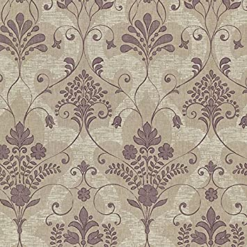 Beacon House 2614 21038 Andalusia Damask Wallpaper Violet