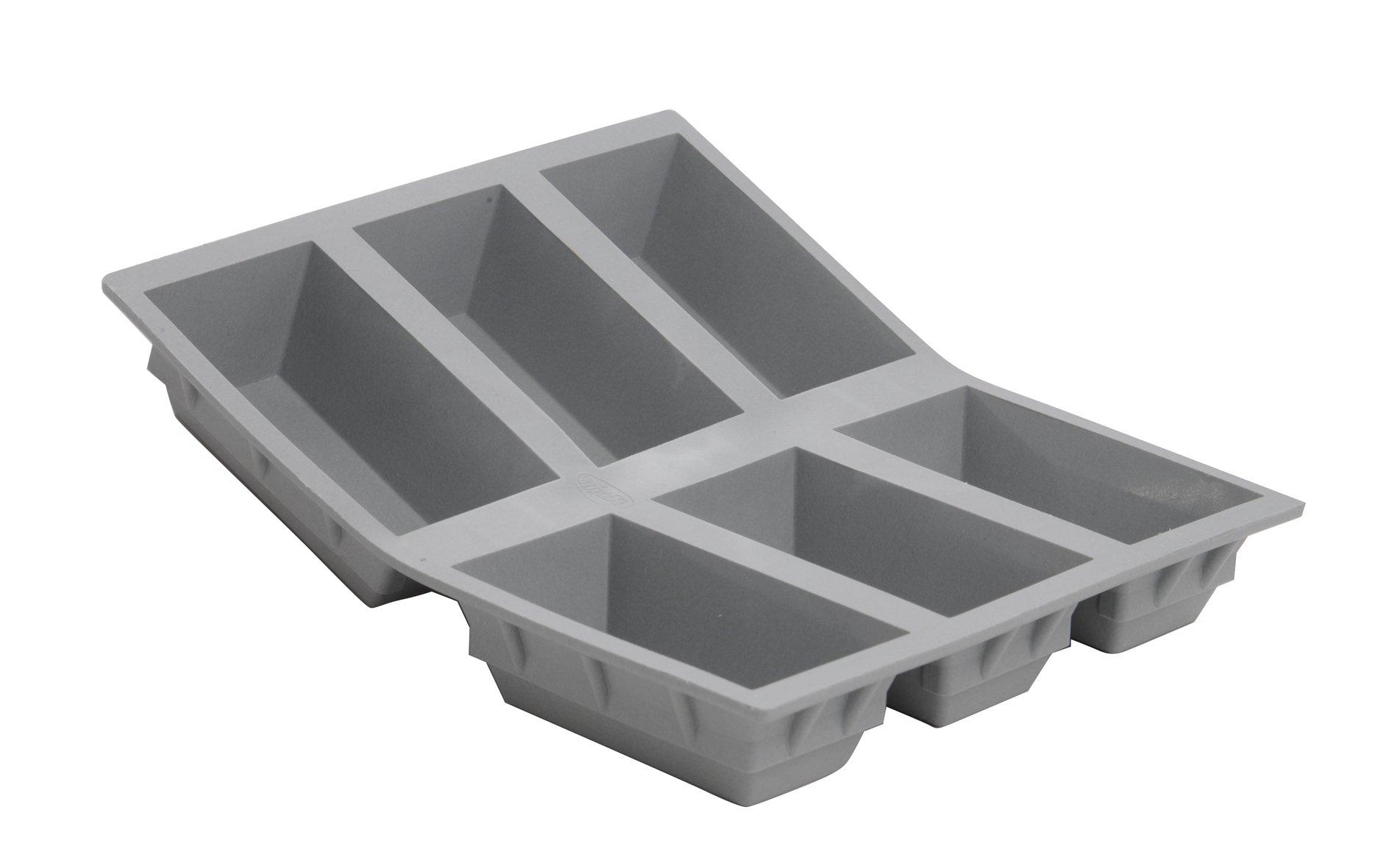 ELASTOMOULE Silicone Mold, 6 Portions Loafs, 8.25'' x 7''