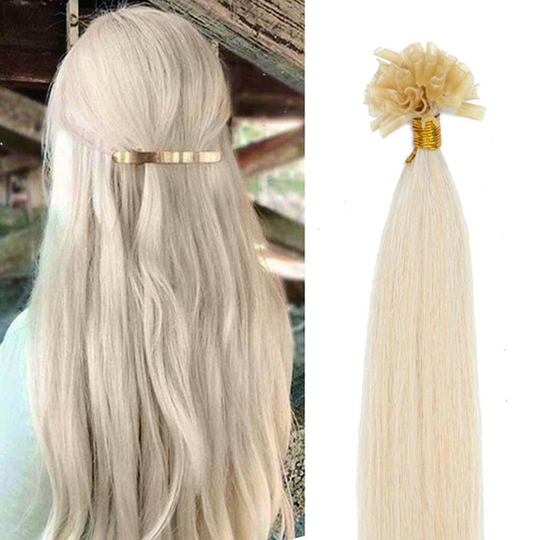 SEGO Pre Bonded U Tip Hair Extensions Human Hair 100 Strands Keratin Fushion Nail Tip Human Hair Extensions 100% Real Remy Hair Silky Straight #60 Platinum Blonde 20 inches 50g by SEGO