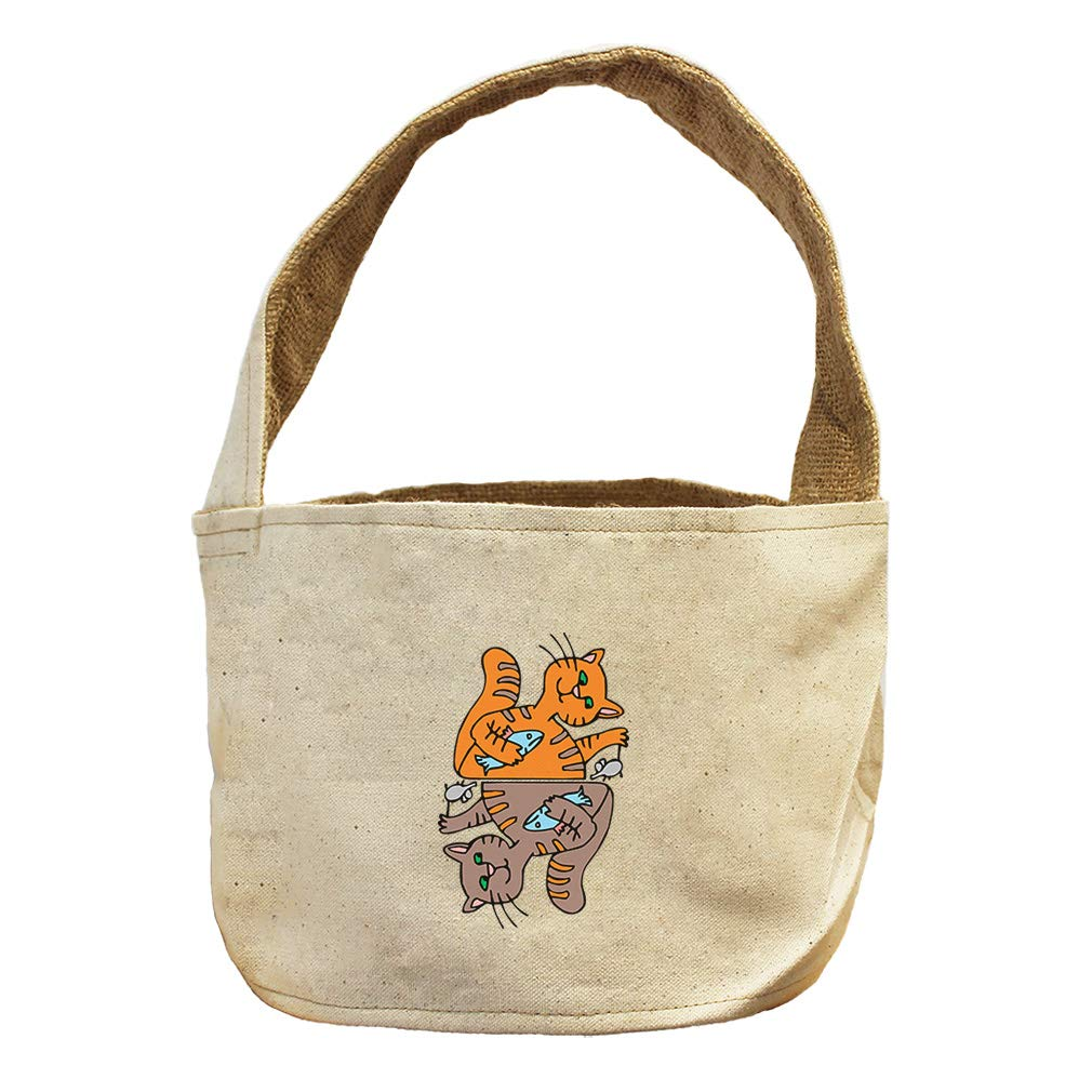 Style in Print Two Cats Playing Fish and Mouse Animals Canvas and Burlap Storage Basket