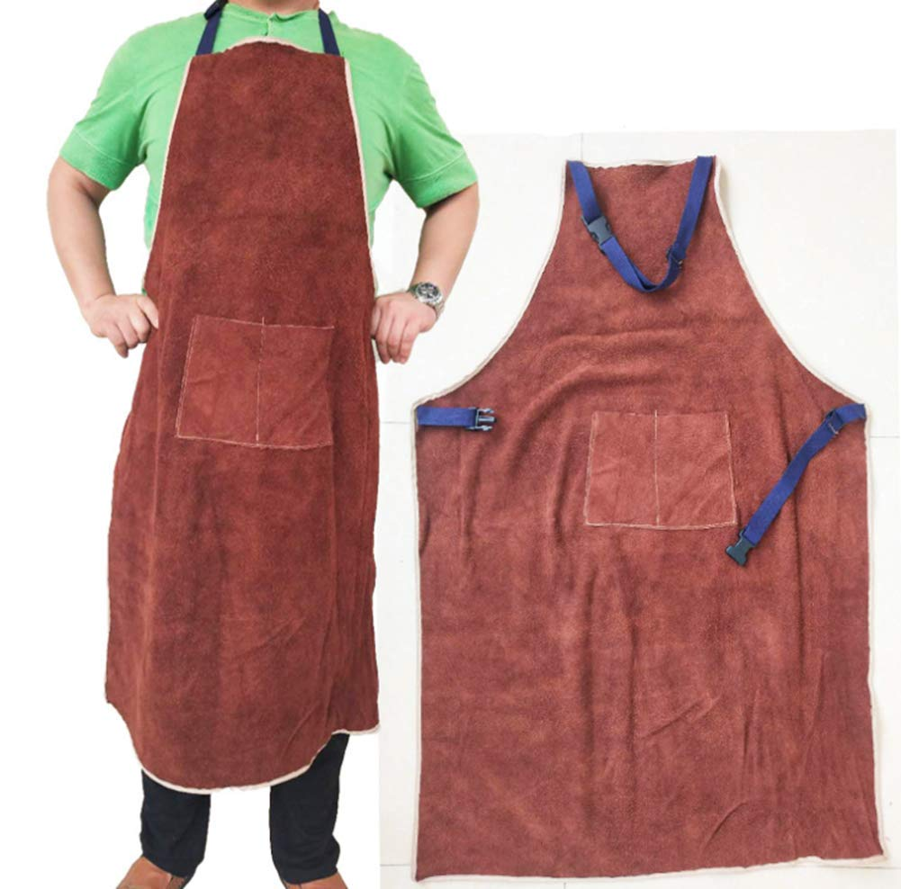 WQHJM Welding Apron Safety Shop Leather Work Heat&Flame Resistant Protective Clothing Safety Apparel 70x100cm