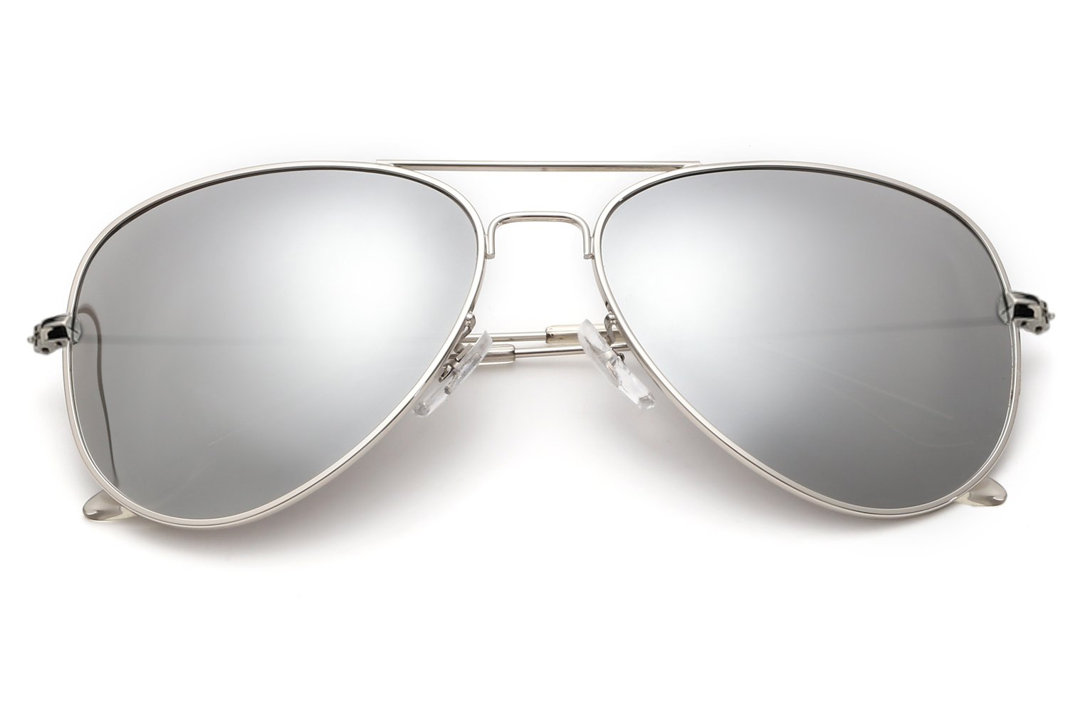 0311f91c5a8 YuFalling Polarized Aviator Sunglasses for Men and Women (silver  frame silver lens(clear legs)