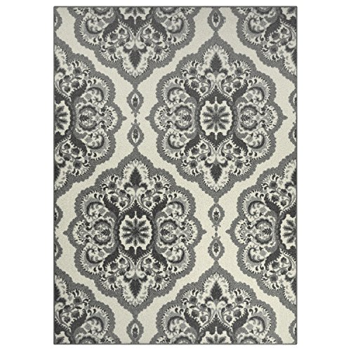 Area Rugs, Maples Rugs [Made in USA][Vivian] 5' x 7' Non Slip Padded Large Rug for Living Room, Bedroom, and Dining Room - Grey (Carpet Living In Grey Room)