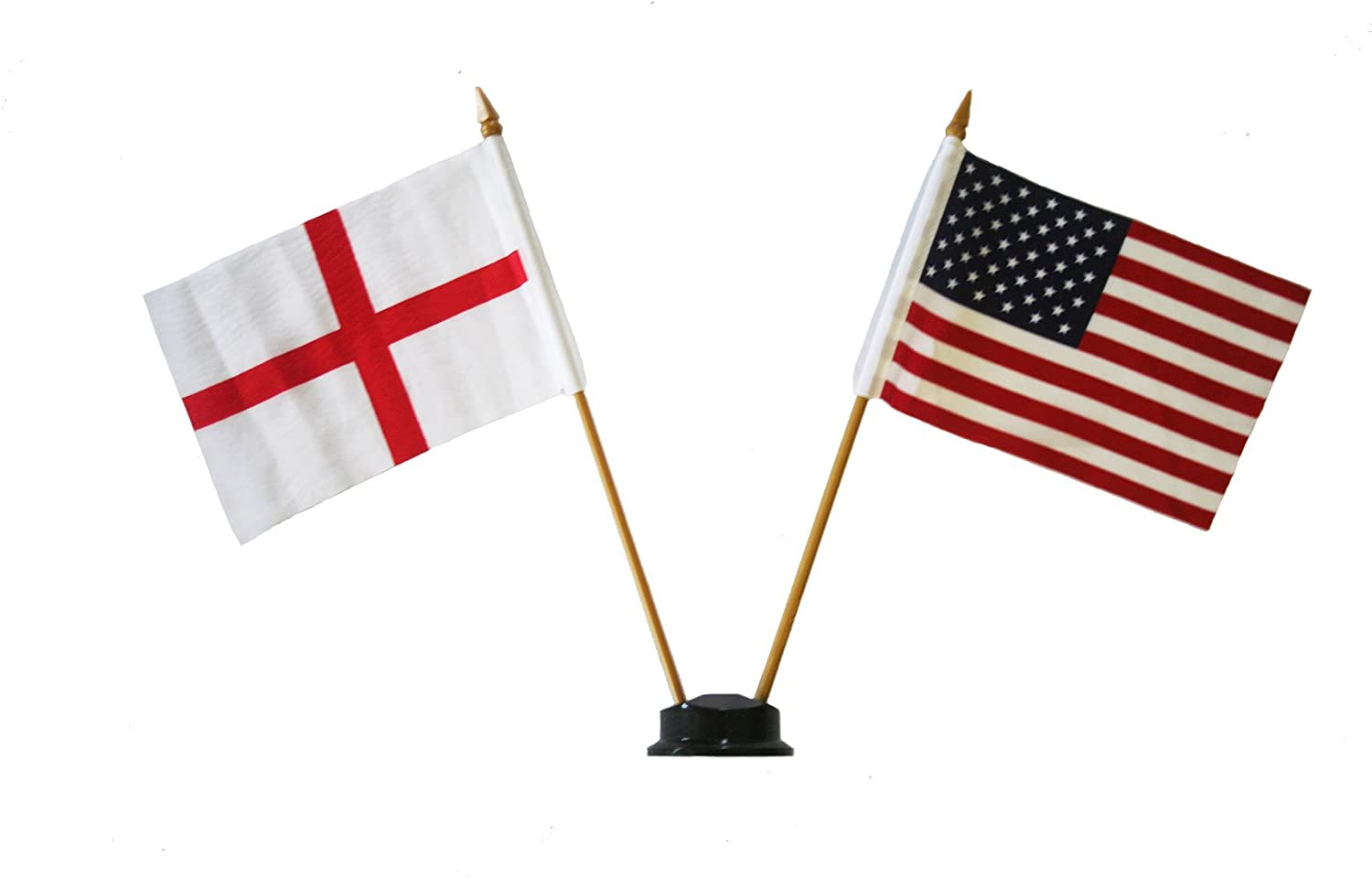 New USA /& TANZANIA Small 4 X 6 Inch Mini Double Country Stick Flag Banner with BLACK STAND on a 10 Inch Plastic Pole .