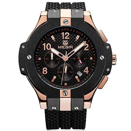 e141adf353b Image Unavailable. Image not available for. Color  BAOGELA Mens Black Dial  Chronograph Military Quartz Watch ...