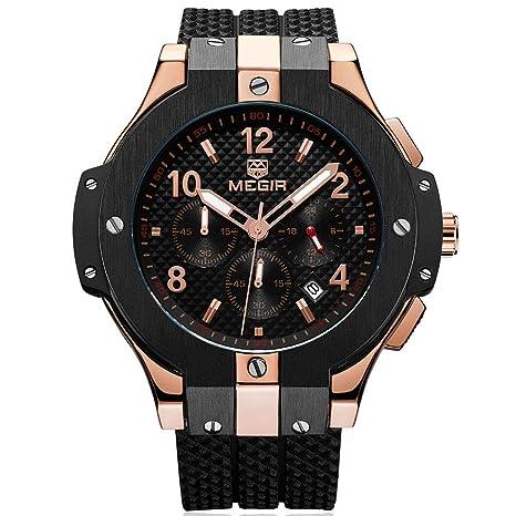 Amazon.com  BAOGELA Mens Black Dial Chronograph Military Quartz ... 3a64a9d028
