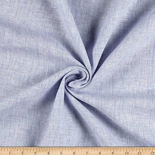 Noveltex Fabrics 100% Linen Hairline Stripe Blue, Fabric by the -