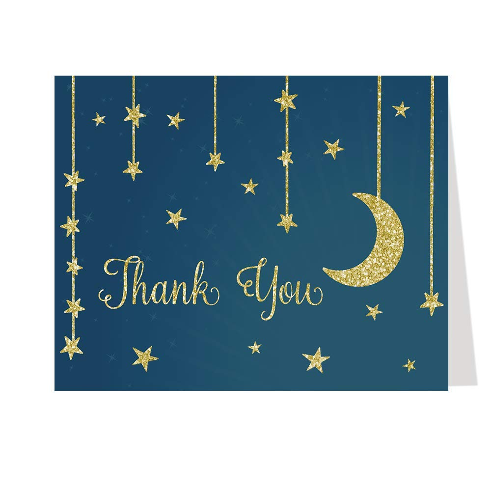 Thank You Greeting Cards, Baby Shower, Star ad Moon, Navy, Blue, Gold, Glitter Design, Boys, Girls, Neutral, Make A Wish, Set of 50 Folding Notes with Envelopes