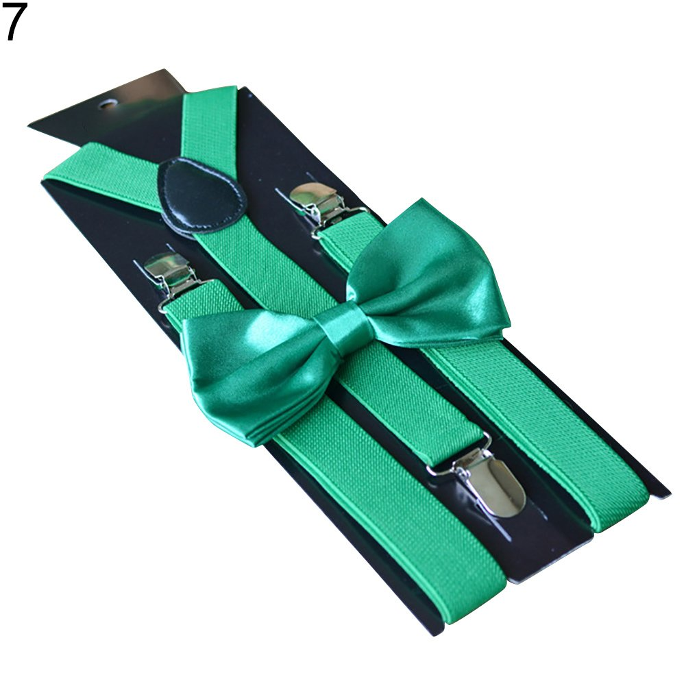 yanbirdfx Solid Color Kids Adult Clip-on Elastic Y-Shape Adjustable Suspenders Bowtie Set - Deep Green