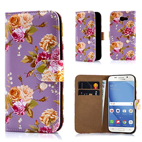 Samsung A517 Protector Case Cover (32nd Floral Design Leather Wallet Case for Samsung Galaxy A5 (2017), Designer Flower Pattern Wallet Style Case Cover With Card Slots - Vintage Rose Fossil)