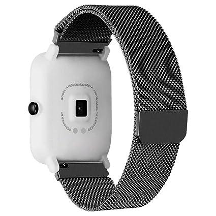 Modaworld _Correa de reloj Pulsera xiaomi huami amazfit bip Correas Pulsera de Acero Inoxidable para Xiaomi Amazfit Bip Youth Watch (Negro): Amazon.es: ...