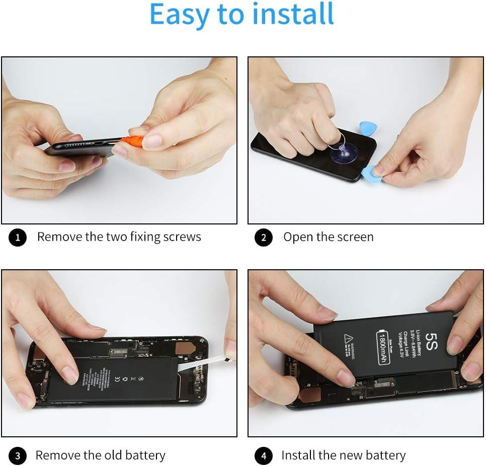 Vancely Akku f/ür iPhone 5S 1800mAh mit Werkzeugset und Reparaturset Akku-Austausch Kompatibel mit Apple 5S Garantie 2 Jahr Ersatzakku mit Hoher Kapazit/ät Funktioniert mit Alle Original APN
