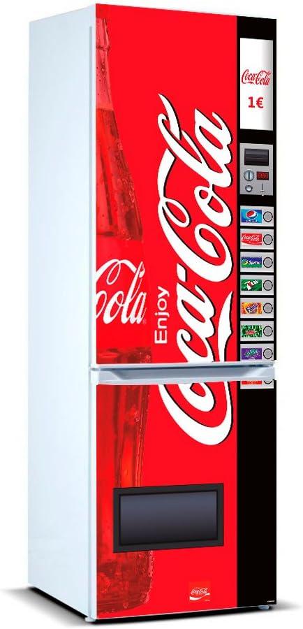 Pegatinas Vinilo para Frigorífico Máquina expendedora Cocacola | Varias Medidas 200x70cm | Adhesivo Resistente y de Fácil Aplicación | Pegatina Adhesiva Decorativa de Diseño Elegante