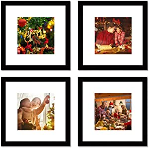 WOOD MEETS COLOR 12x12 Picture Frames Set, Mat for 8x8 photo, Wall Gallery Collage Frames (4-12x12)
