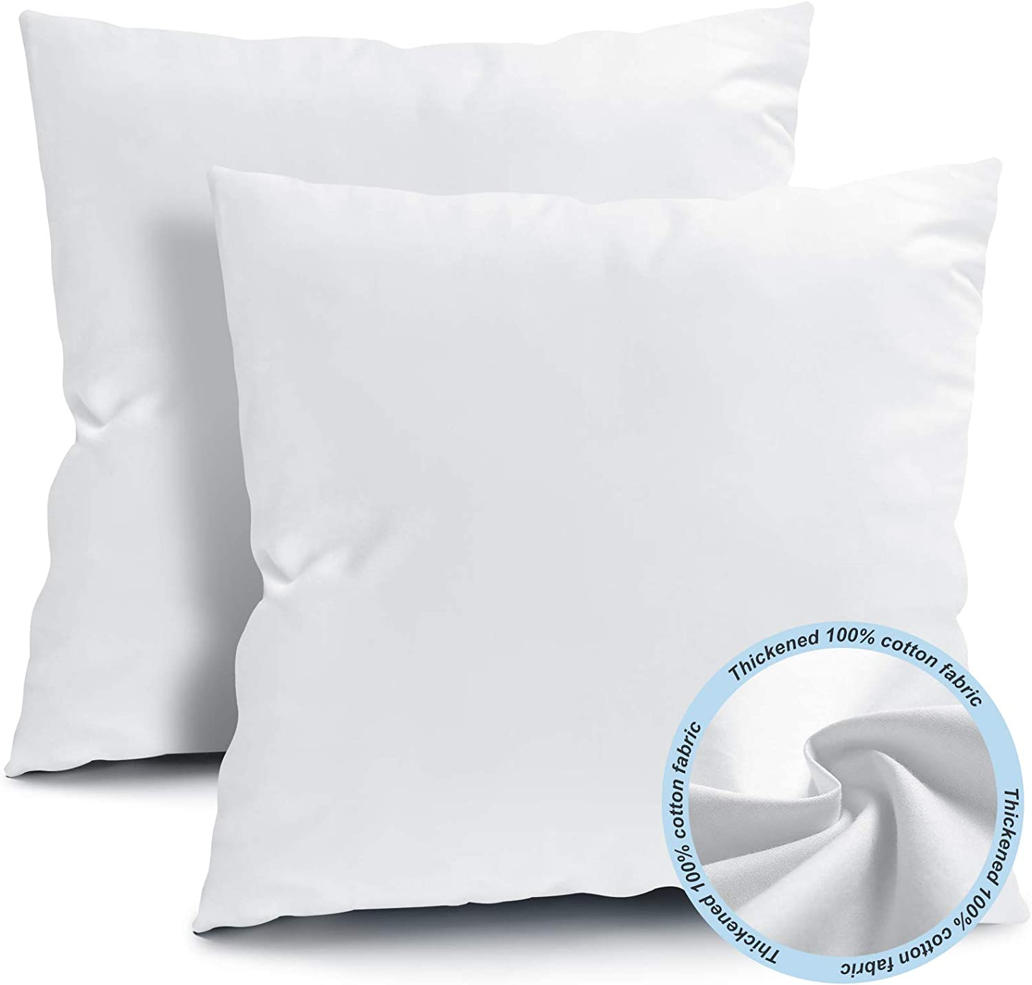 Fixwal 16x16 Inches Outdoor Throw Pillow Inserts, Square Form Couch Sham Cushion Stuffer Decorative Pillows for Bed Living Room Garden Patio Bench (White), Pack of 2: Kitchen & Dining