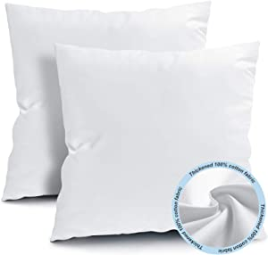 Fixwal 18x18 Inches Outdoor Throw Pillow Inserts, Square Form Couch Sham Cushion Stuffer Decorative Pillows for Bed Living Room Garden Patio Bench (White), Pack of 2