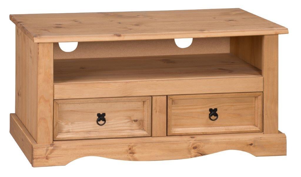 Mercers furniture corona meuble tv cran plat 2 tiroirs bois pin antique - Meuble tv mexicain ...