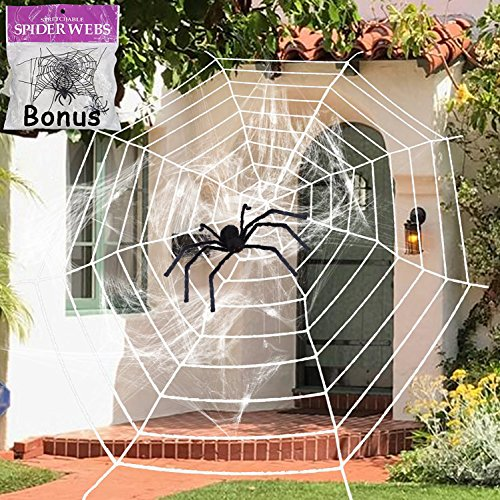 11.8 Feet Black Plush Spider Web Stretch Cobweb Set with Realistic Looking Hairy Spider, Best for Halloween Outdoor Yard Haunted House Party Decoration, Decor Supplies Props Party Favor (White Web) by WEnjoy