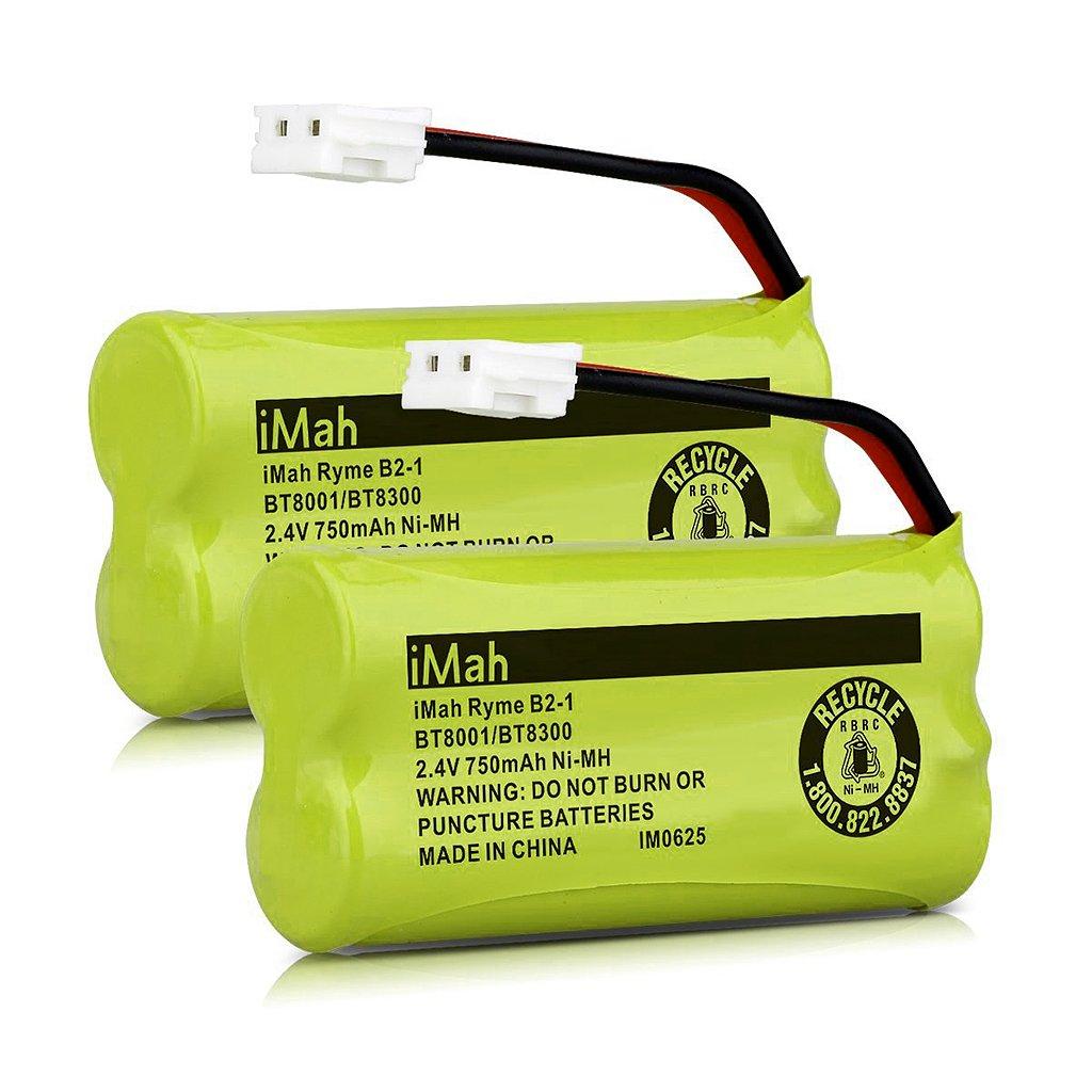 iMah Ryme B2-1 BT800 BT8300 Cordless Phone Batteries Compatible Vtech CS6209 CS6219 CS6229 DS6121 DS6221 Motorola L601M L602 L603M L701 L702M L903 L513CBT DECT 6.0 Home Handset Telephone (Pack of 2) iMahDirect BT800-750mah-2
