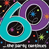 "The Party Continuous 60th Birthday Party Beverage Napkins Tableware, Pack of 16, Multi , 5"" x 5"" Paper"
