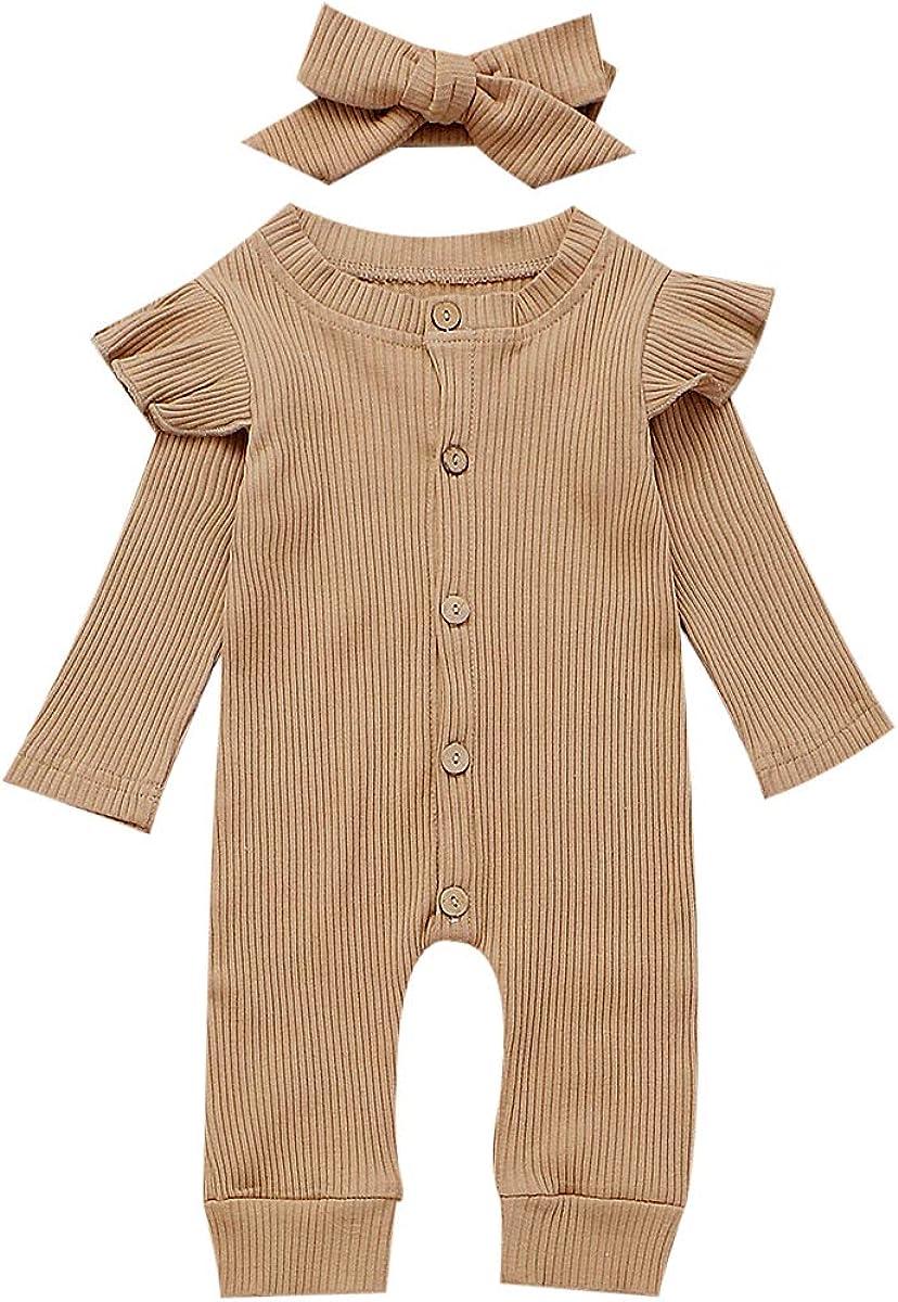 Seyurigaoka Newborn Baby Girls One Piece Jumpsuit, Infant Girl Knitted Romper Ruffle Long Sleeve Basic Bodysuit Underwear